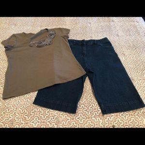 jNY Bermuda denim shorts sz 8 t-shirt sz M.